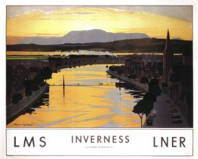 'Inverness', LMS/LNER  Railway Travel poster, 1923-1947. By Norman Wilkinson